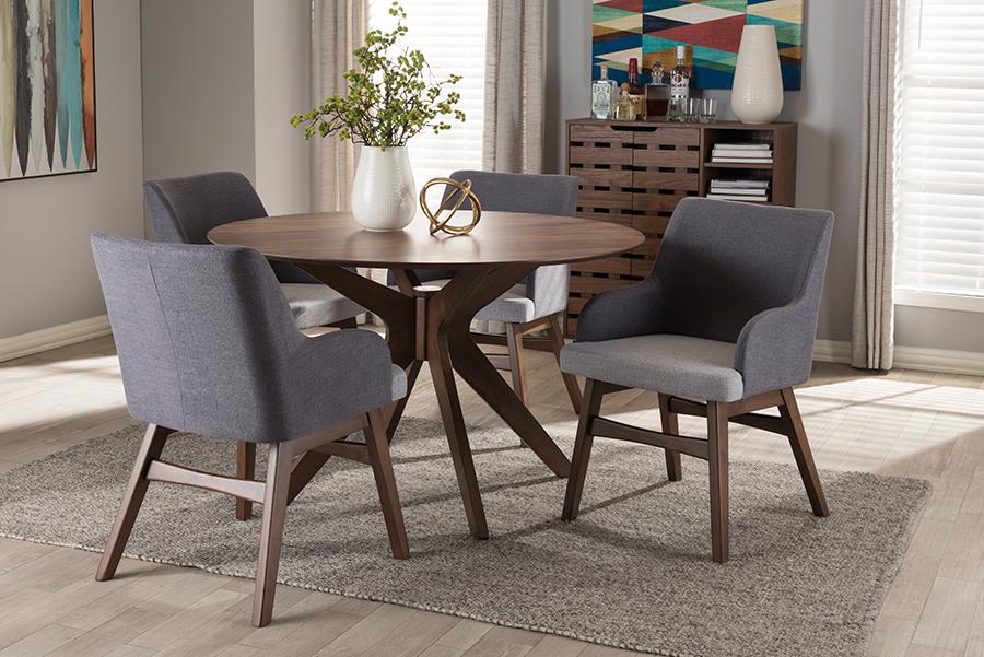 Baxton Studio Monte Mid-Century Modern Walnut Wood Round 5-Piece Dining Set