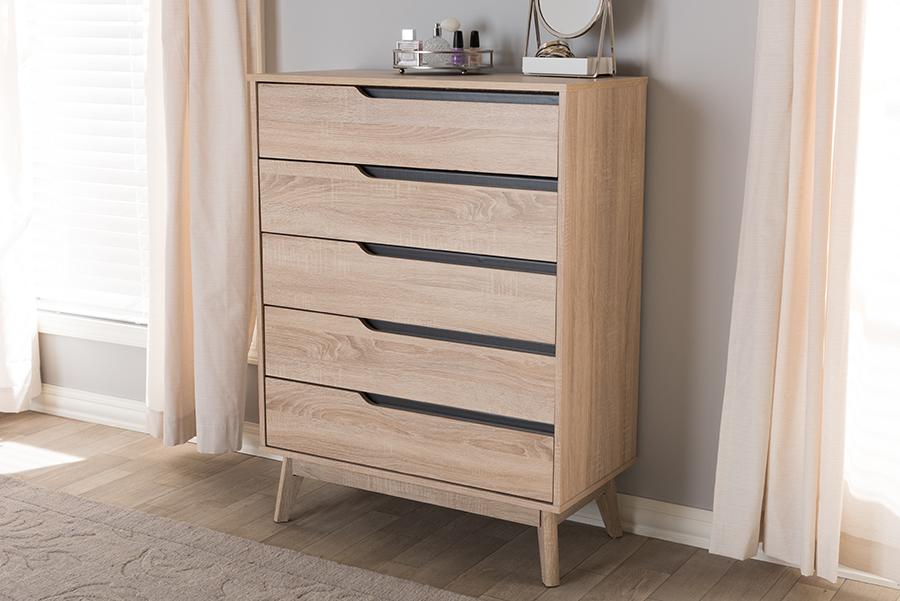 Baxton Studio Fella Mid-Century Modern Two-Tone Oak and Grey Wood 5-Drawer Chest