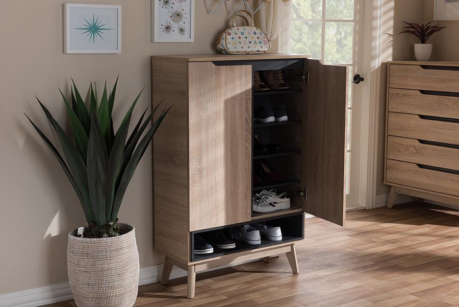 Baxton Studio Fella Mid-Century Modern Two-Tone Oak and Grey Wood Shoe Cabinet