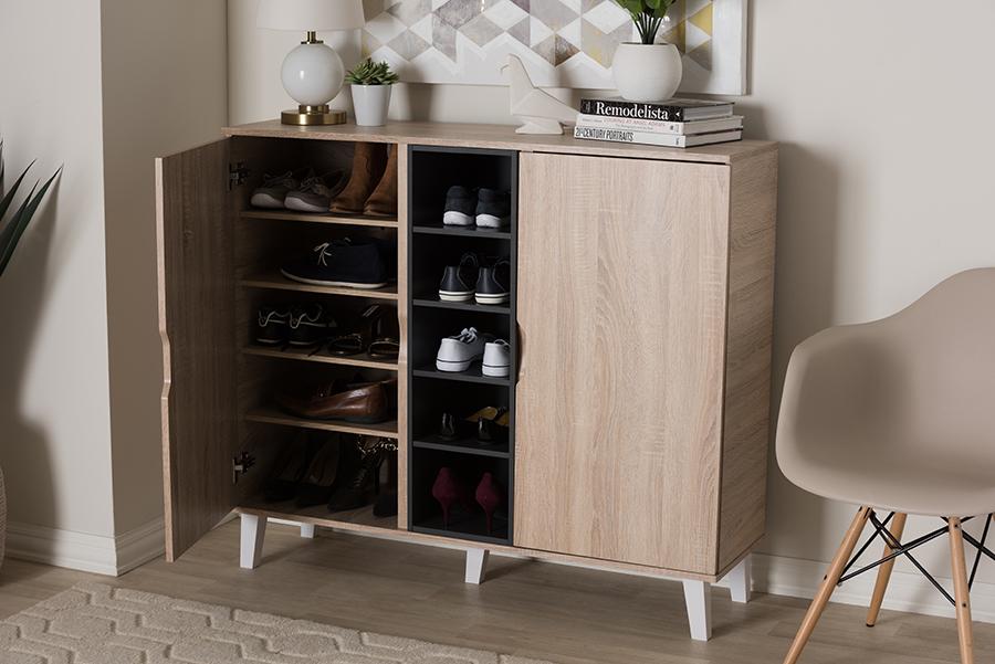 Baxton Studio Adelina Mid-Century Modern 2-door Oak and Grey Wood Shoe Cabinet