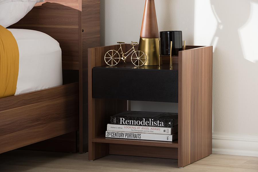 Baxton Studio Vanda Modern and Contemporary Two-Tone Walnut and Black Wood 1-Drawer Nightstand