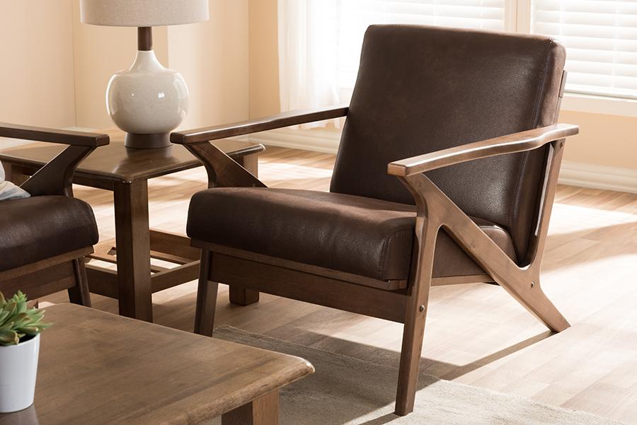 Baxton Studio Bianca Mid-Century Modern Walnut Wood Dark Brown Distressed Faux Leather Lounge Chair