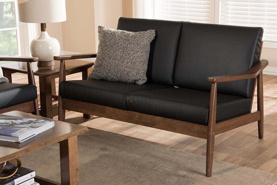 Baxton Studio Venza Mid-Century Modern Walnut Wood Black Faux Leather 2-Seater Loveseat