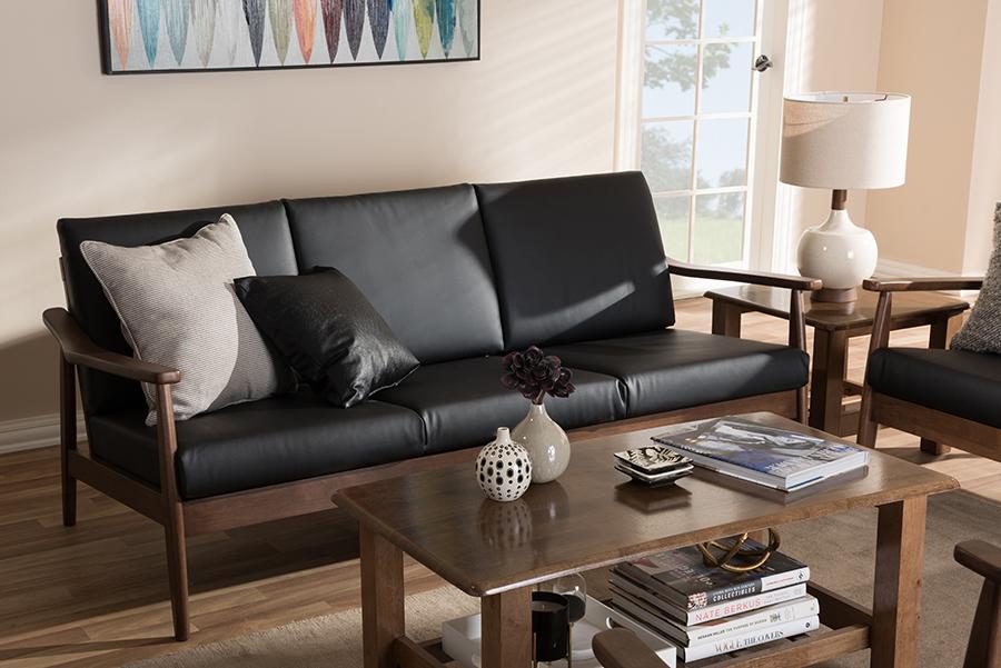 Baxton Studio Venza Mid-Century Modern Walnut Wood Black Faux Leather 3-Seater Sofa