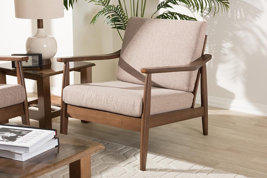 Baxton Studio Venza Mid-Century Modern Walnut Wood Light Brown Fabric Upholstered Lounge Chair