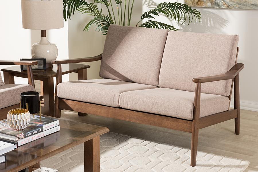 Baxton Studio Venza Mid-Century Modern Walnut Wood Light Brown Fabric Upholstered 2-Seater Loveseat