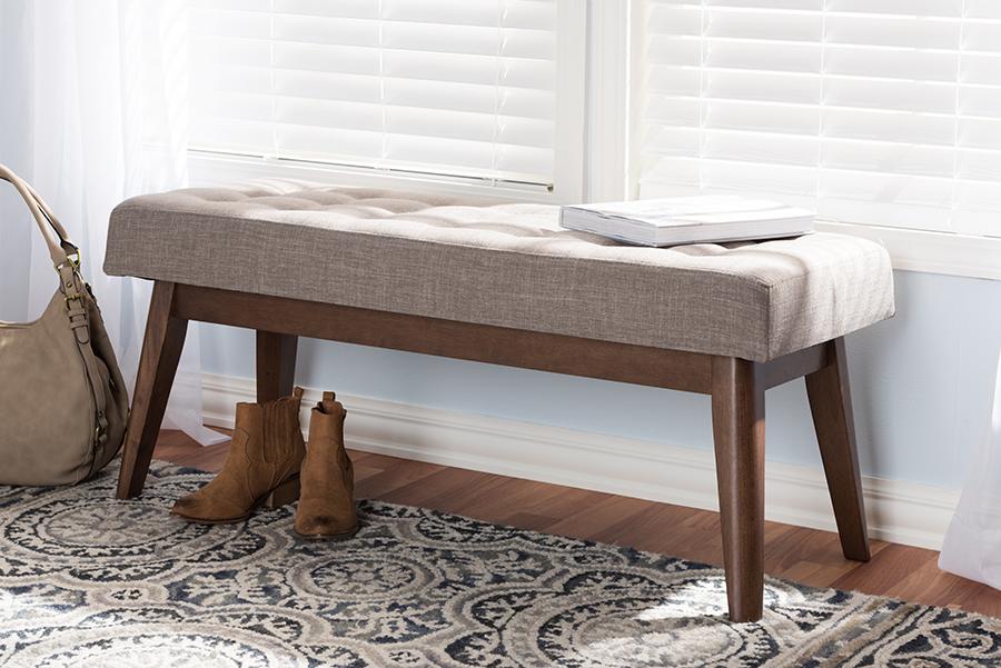Baxton Studio Elia Mid-Century Modern Walnut Wood Light Grey Fabric Button-Tufted Bench