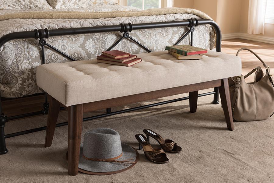 Baxton Studio Elia Mid-Century Modern Walnut Wood Light Beige Fabric Button-Tufted Bench