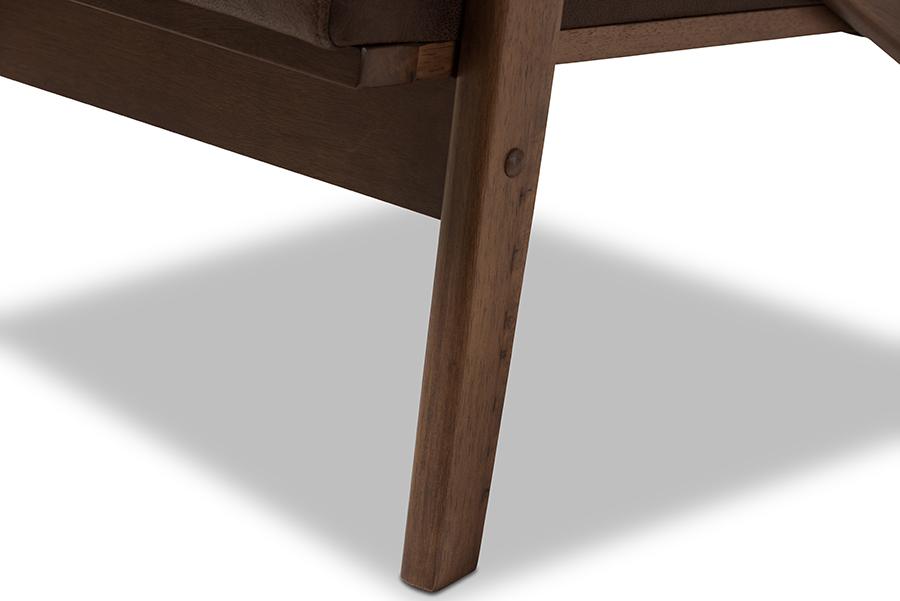 Baxton Studio Bianca Mid-Century Modern Walnut Wood Dark Brown Distressed Faux Leather Lounge Chair And Ottoman Set
