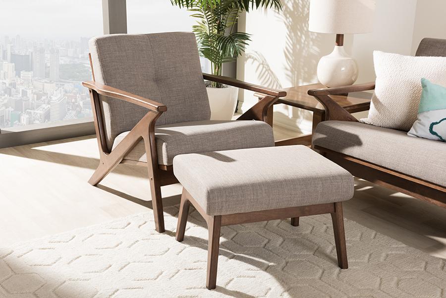 Baxton Studio Bianca Mid-Century Modern Walnut Wood Light Grey Fabric Tufted Lounge Chair And Ottoman Set
