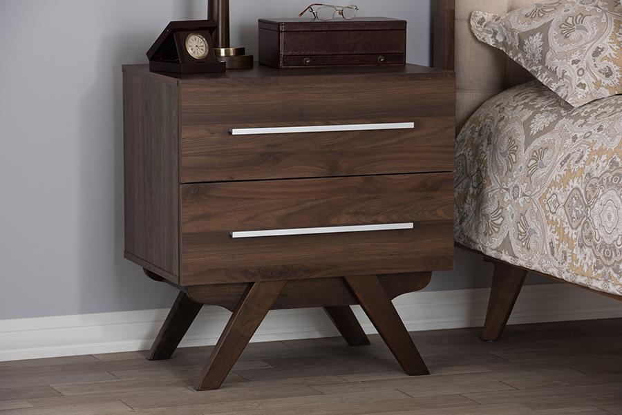 Baxton Studio Auburn Mid-Century Modern Walnut Brown Finished Wood 2-Drawer Nightstand