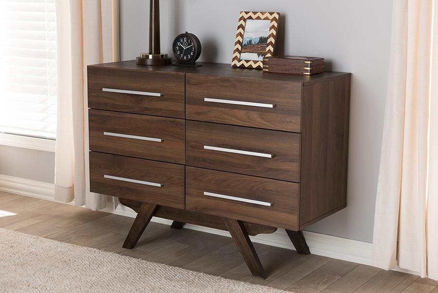 Baxton Studio Auburn Mid-Century Modern Walnut Brown Finished Wood 6-Drawer Dresser