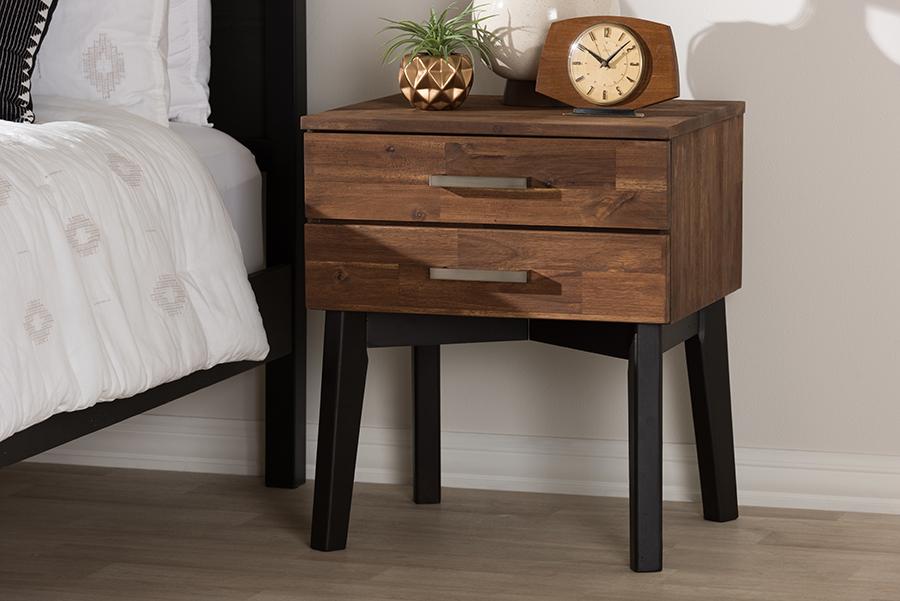 Baxton Studio Selena Mid-Century Modern Brown Wood 2-Drawer Nightstand