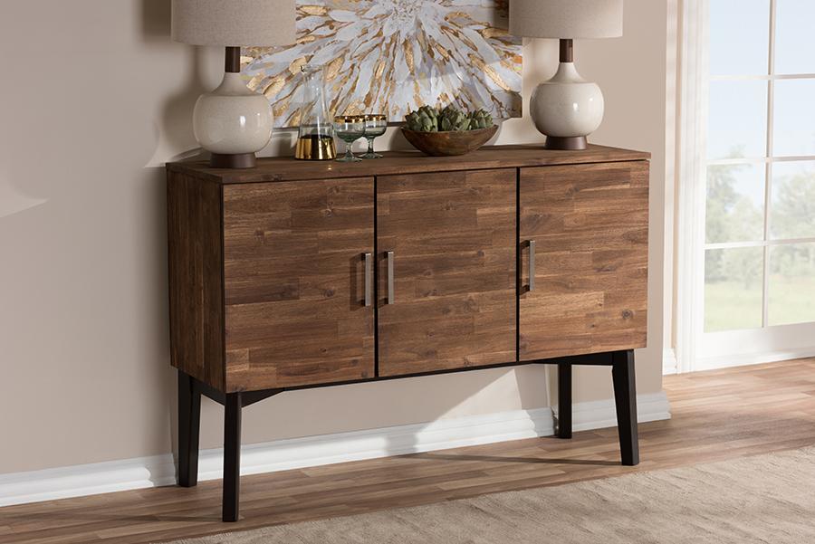 Baxton Studio Selena Mid-Century Modern Brown Wood 3-Door Sideboard Buffet