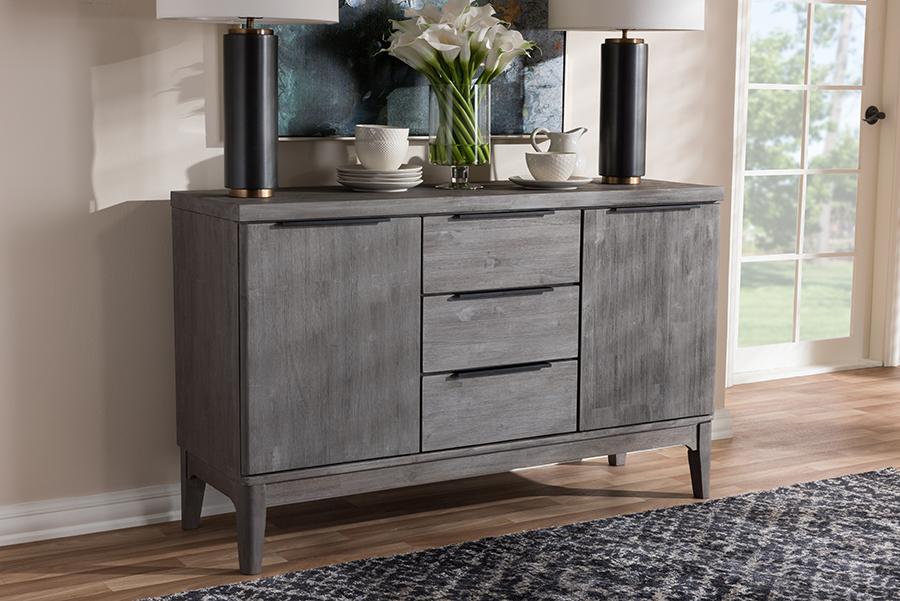 Baxton Studio Nash Rustic Platinum Wood 3-Drawer Sideboard Buffet