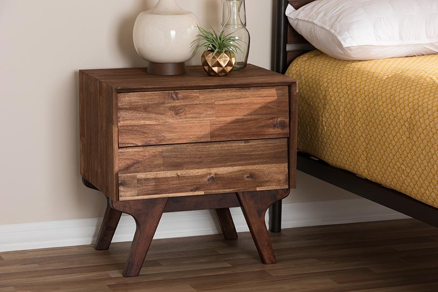 Baxton Studio Sierra Mid-Century Modern Brown Wood 2-Drawer Nightstand