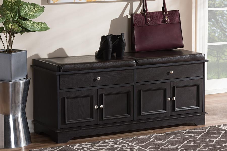 Baxton Studio Mason Modern and Contemporary Dark Brown Wood 2-Drawer Shoe Storage Bench
