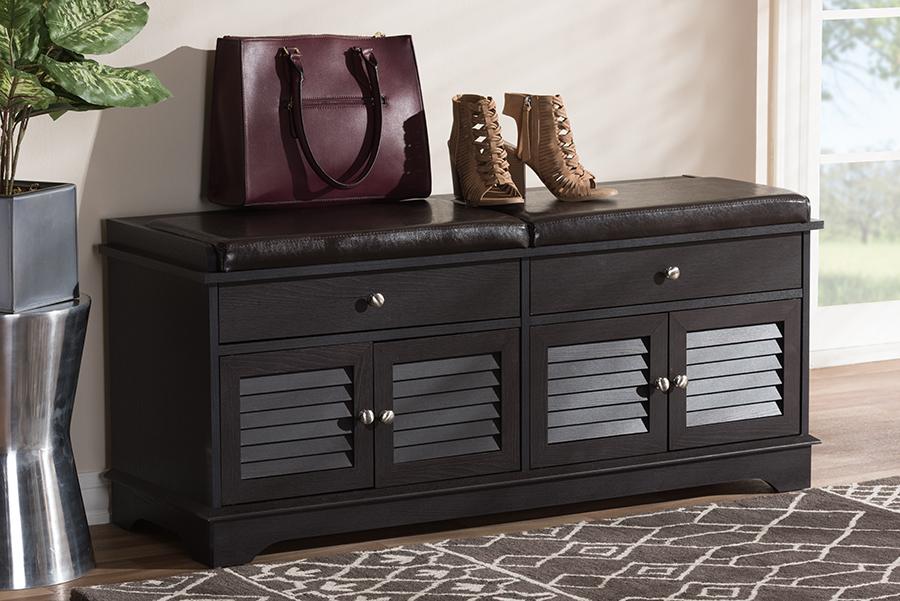 Baxton Studio Leo Modern and Contemporary Dark Brown Wood 2-Drawer Shoe Storage Bench