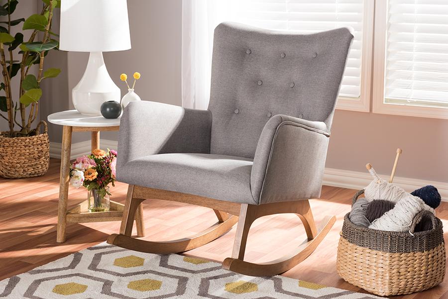 Baxton Studio Waldmann Mid-Century Modern Grey Fabric Upholstered Rocking Chair