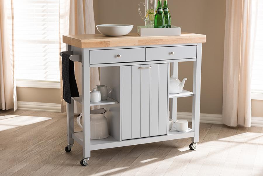 Baxton Studio Hayward Coastal and Farmhouse Light Grey Wood Kitchen Cart