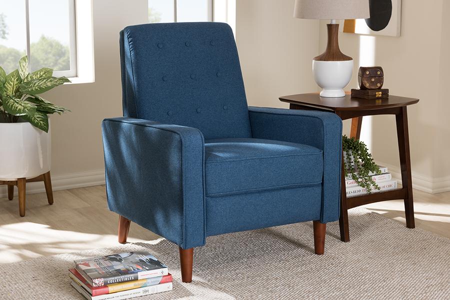 Baxton Studio Mathias Mid-century Modern Blue Fabric Upholstered Lounge Chair