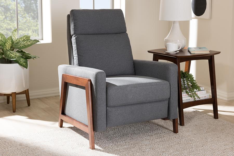 Baxton Studio Halstein Mid-century Modern Grey Fabric Upholstered Lounge Chair