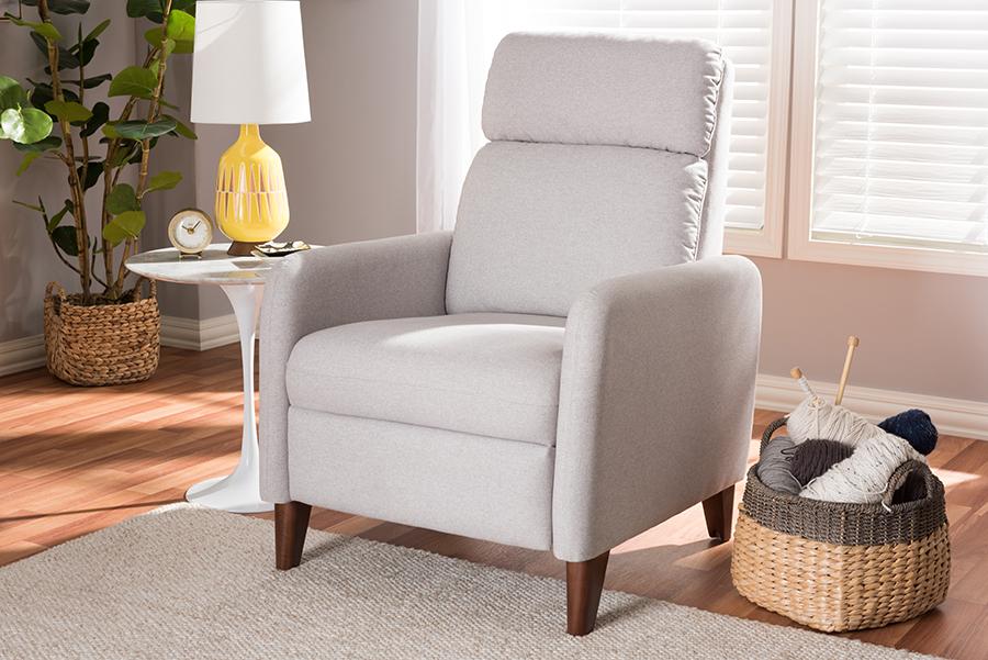 Baxton Studio Casanova Mid-century Modern Light Grey Fabric Upholstered Lounge Chair
