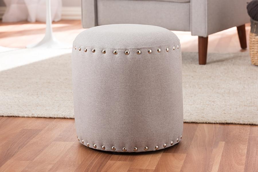 Baxton Studio Rosine Modern and Contemporary Light Grey Fabric Upholstered Nail Trim Ottoman