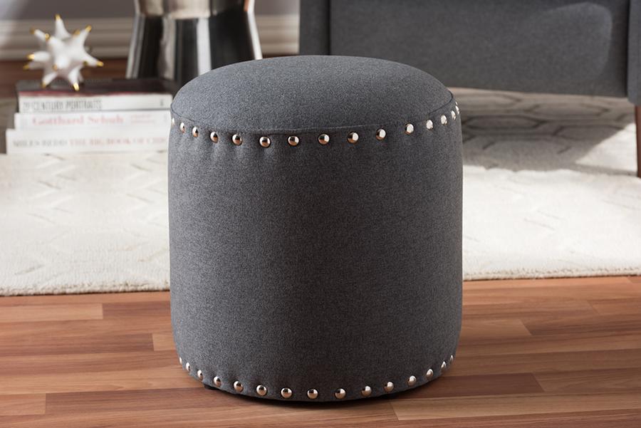 Baxton Studio Rosine Modern and Contemporary Dark Grey Fabric Upholstered Nail Trim Ottoman