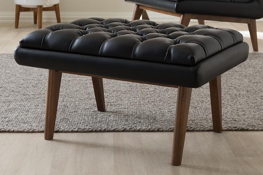 Baxton Studio Annetha Mid-Century Modern Black Faux Leather Upholstered Walnut Finished Wood Ottoman