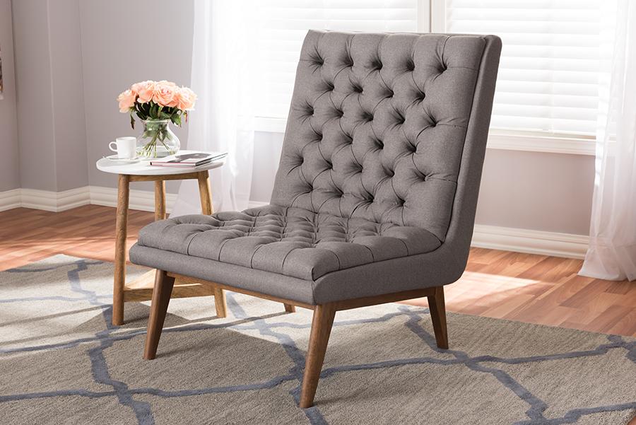 Baxton Studio Annetha Mid-Century Modern Grey Fabric Upholstered Walnut Finished Wood Lounge Chair