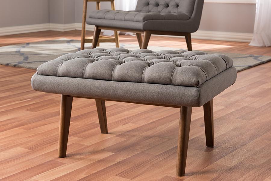 Baxton Studio Annetha Mid-Century Modern Grey Fabric Upholstered Walnut Finished Wood Ottoman