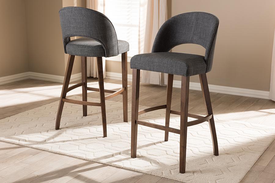 Baxton Studio Melrose Mid-Century Modern Dark Grey Fabric Upholstered Walnut Finished Wood Bar Stool (Set of 2)