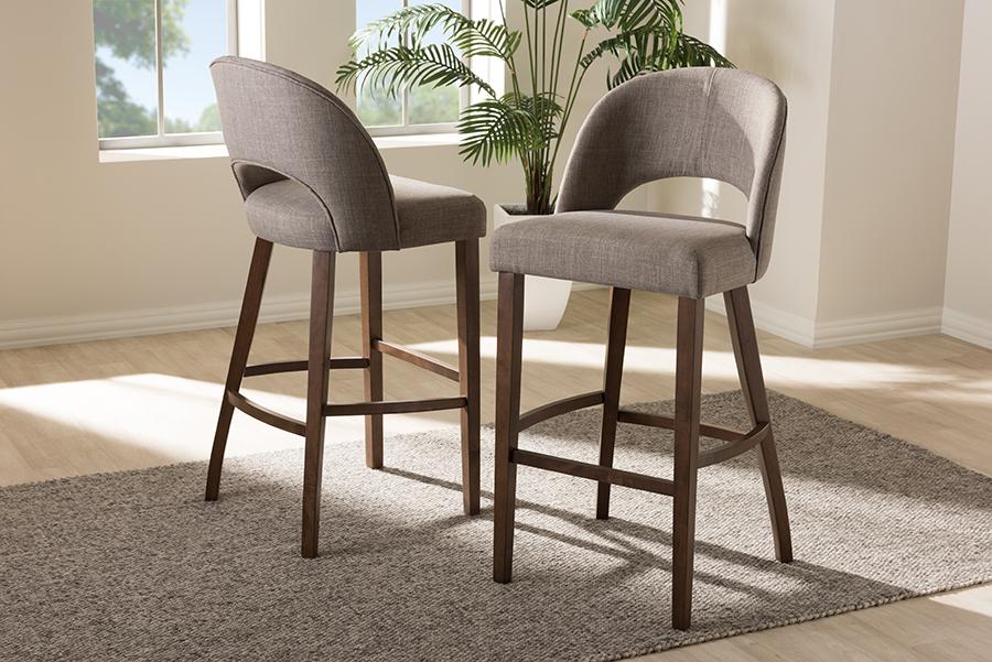 Baxton Studio Melrose Mid-Century Modern Light Grey Fabric Upholstered Walnut Finished Wood Bar Stool (Set of 2)