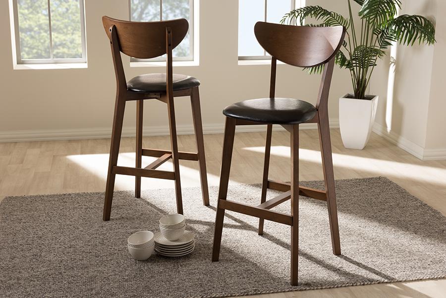 Baxton Studio Eline Mid-Century Modern Black Faux Leather Upholstered Walnut Finished Bar Stool (Set of 2)