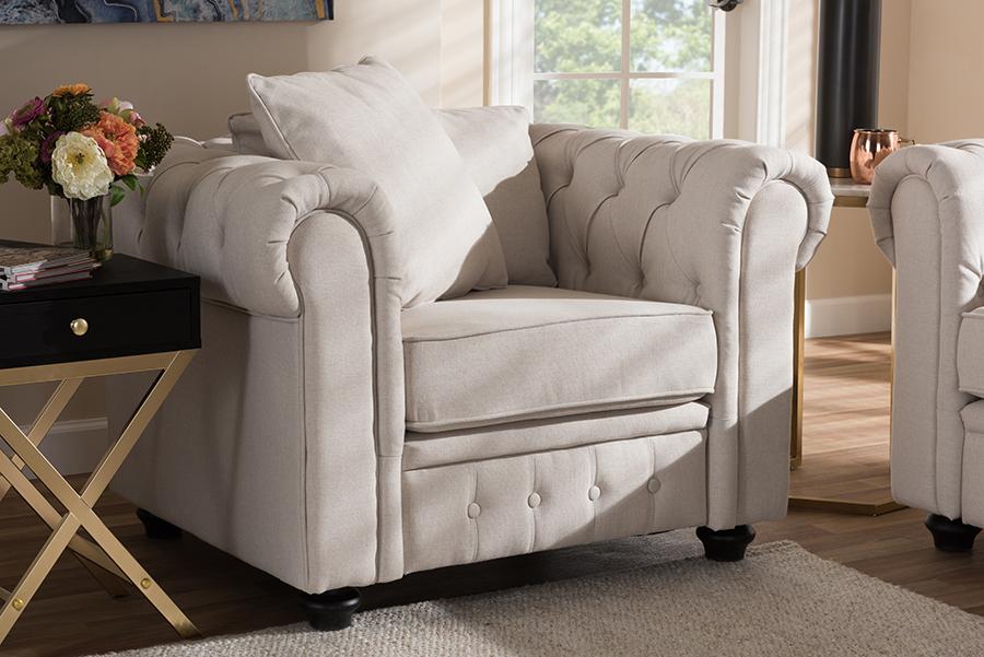 Baxton Studio Alaise Modern Classic Beige Linen Tufted Scroll Arm Chesterfield Chair