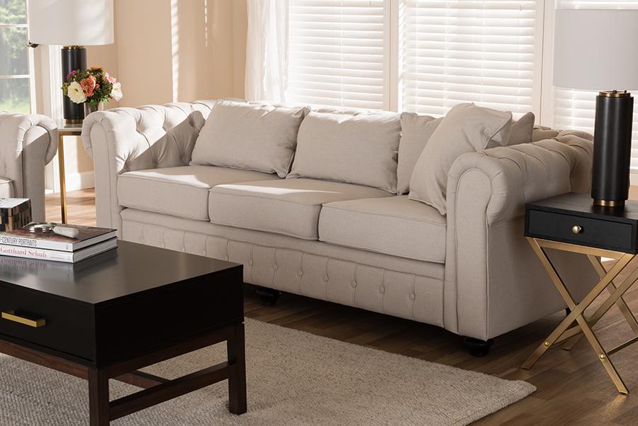 Baxton Studio Alaise Modern Classic Beige Linen Tufted Scroll Arm Chesterfield Sofa