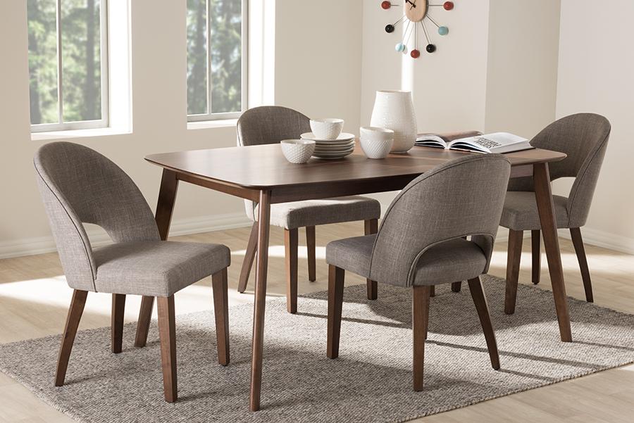 Baxton Studio Wesley Mid-Century Modern Light Grey Fabric Upholstered Walnut Finished Wood 5-Piece Dining Set
