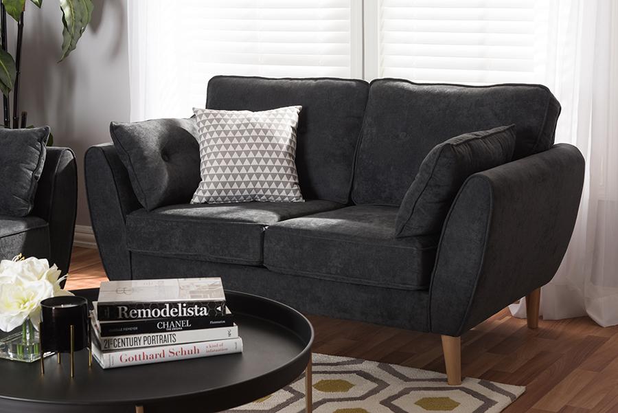 Baxton Studio Miranda Mid-Century Modern Dark Grey Fabric Upholstered Loveseat