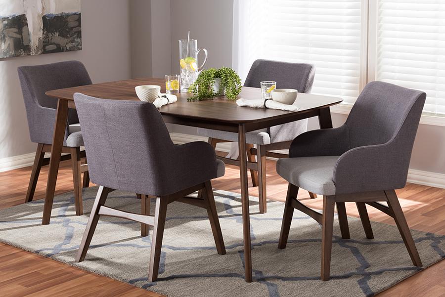 Baxton Studio Monte Mid-Century Modern Walnut Wood Rectangular 5-Piece Dining Set