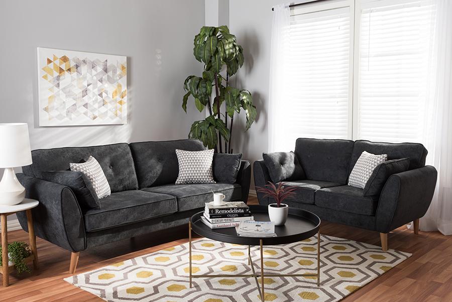 Baxton Studio Miranda Mid-Century Modern Dark Grey Fabric Upholstered 2-Piece Living Room Set