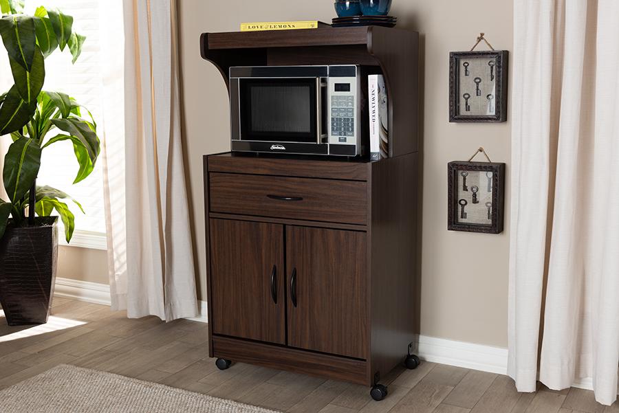 Baxton Studio Tannis Modern and Contemporary Dark Walnut Finished Kitchen Cabinet