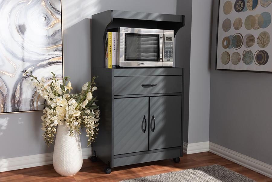 Baxton Studio Tannis Modern and Contemporary Dark Grey Finished Kitchen Cabinet