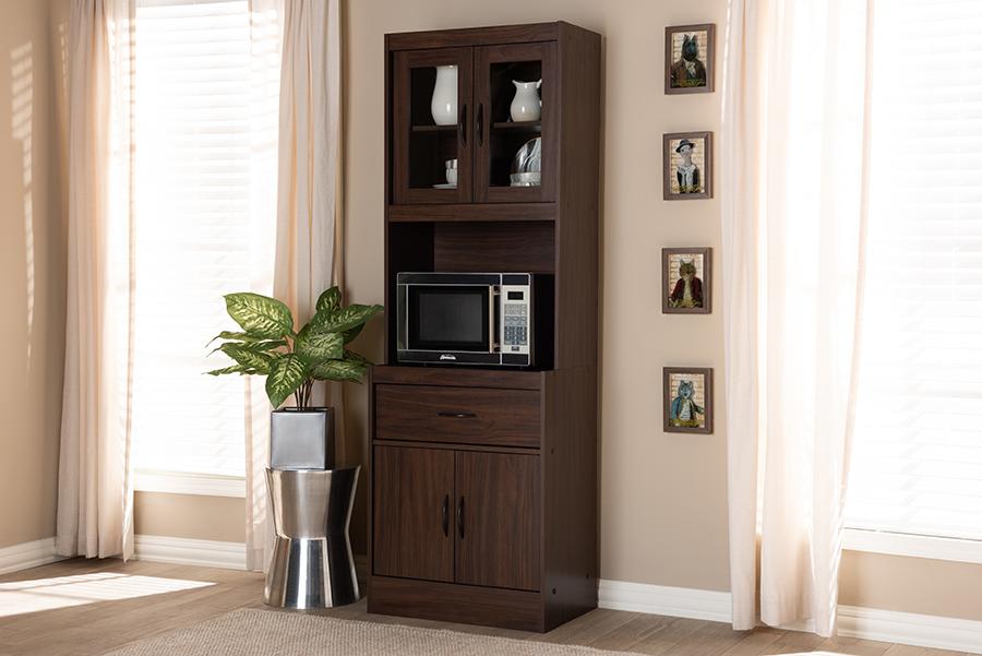 Baxton Studio Laurana Modern and Contemporary Dark Walnut Finished Kitchen Cabinet and Hutch