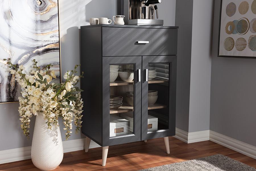 Baxton Studio Jonas Modern and Contemporary Dark Grey and Oak Brown Finished Kitchen Cabinet
