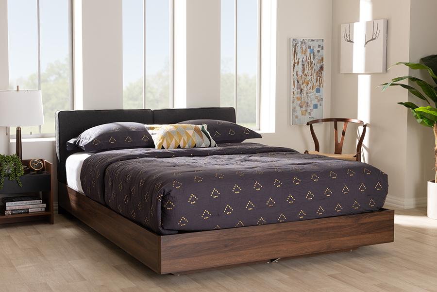 Baxton Studio Iselin Mid-Century Modern Brown Finished Dark Grey Fabric Upholstered Queen Sized Storage Platform Bed
