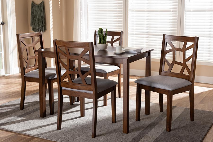 Baxton Studio Abilene Mid-Century Walnut Finished and Grey Fabric Upholstered 5-Piece Dining Set