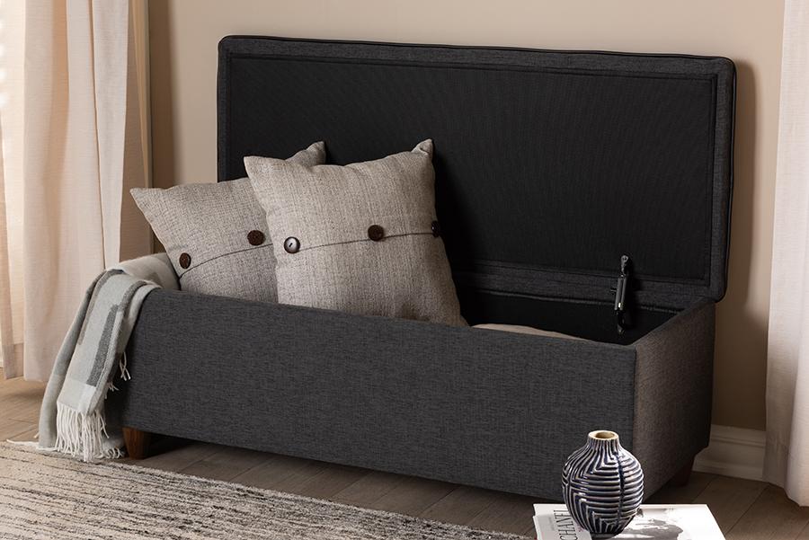 Baxton Studio Marlisa Mid-Century Modern Walnut Finished Wood and Dark Grey Fabric Upholstered Button Tufted Storage Ottoman Ben