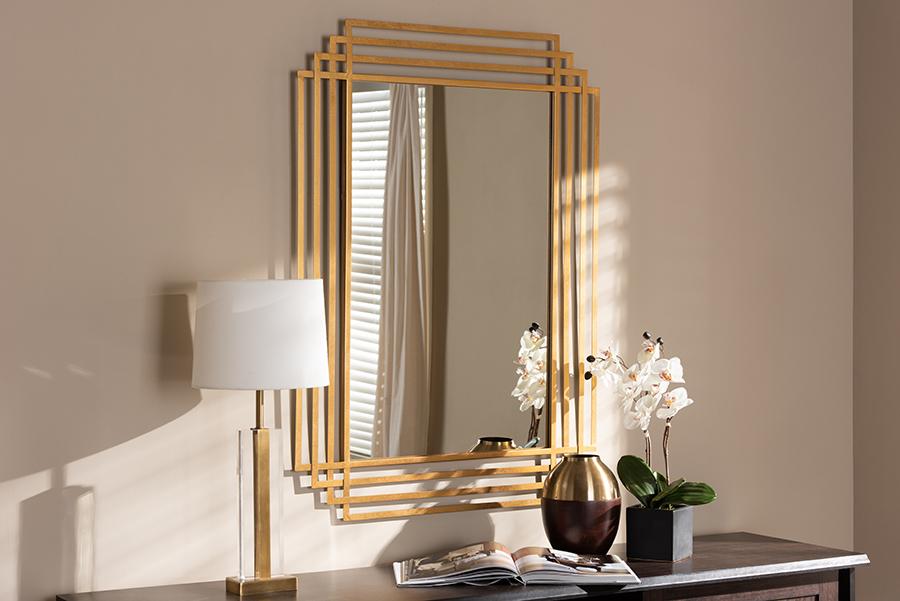 Baxton Studio Kalinda Art Deco Antique Gold Finished Rectangular Accent Wall Mirror
