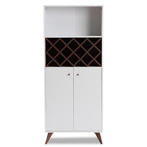 Baxton Studio Serafino Mid-Century Modern White and Walnut Finished Wood Wine Cabinet